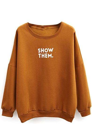 Letter Print Fleece Long Sleeve Plain Sweatshirt