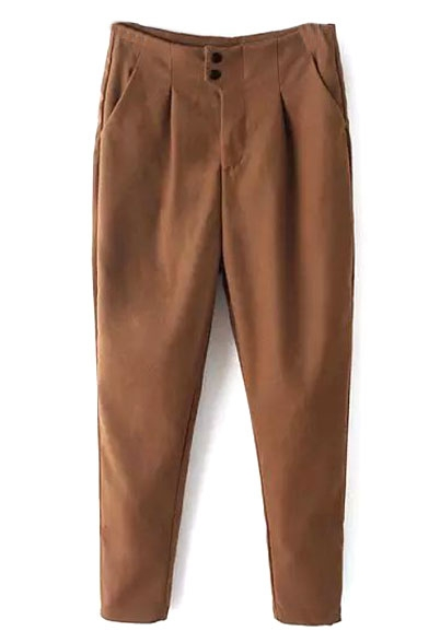 Plain High Waist Tweed Zipper Fly Harem Pants