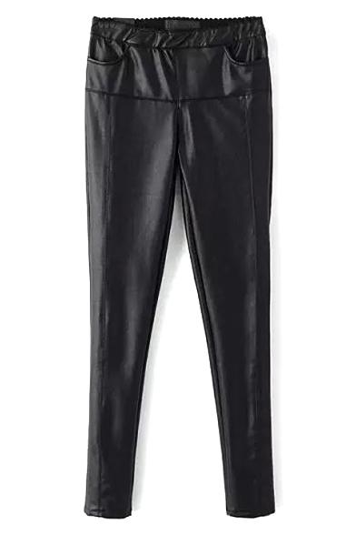High Waist Elastic Waist Skinny PU Pants
