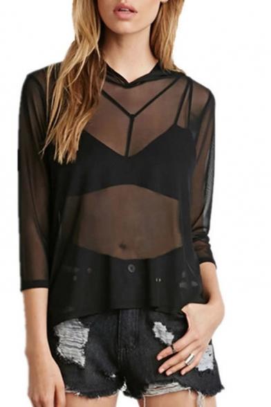 Hooded 3/4 Length Sleeve Sheer Black Blouse