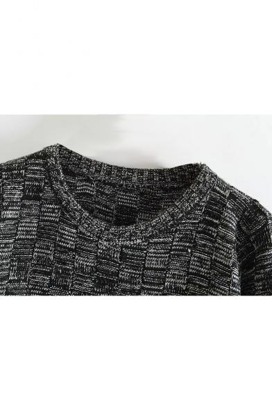 Loose Plaid Dark Round Long Sweater Neck qzSHp