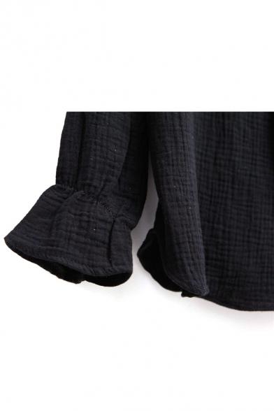 Ruffle Neck Tie Neck Long Sleeve Elastic Wrist Blouse