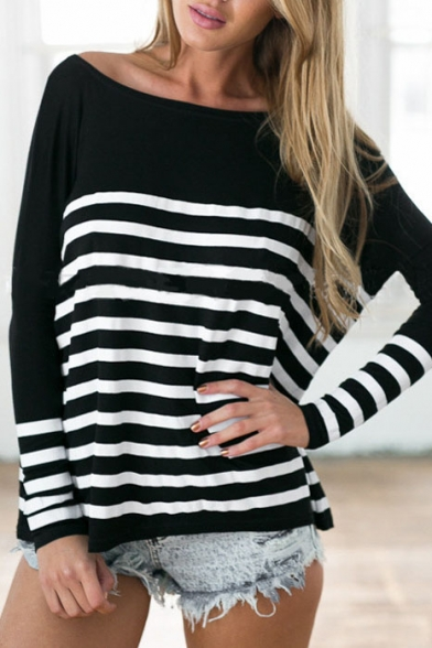 Black Boat Neck Stripes Long Sleeve Tee