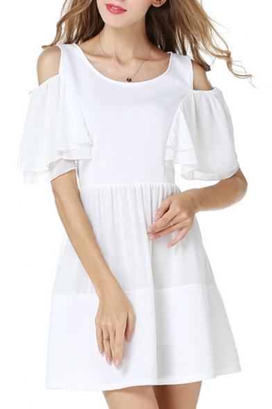 Cold Shoulder Short Sleeve Scoop Neck White Dress