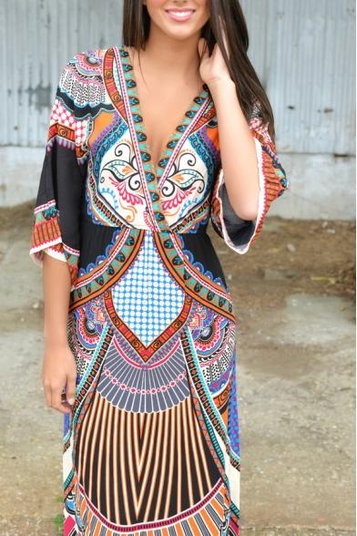 Deep V-Neck Elastic Waist Bohemia Style Tribal Print Dress