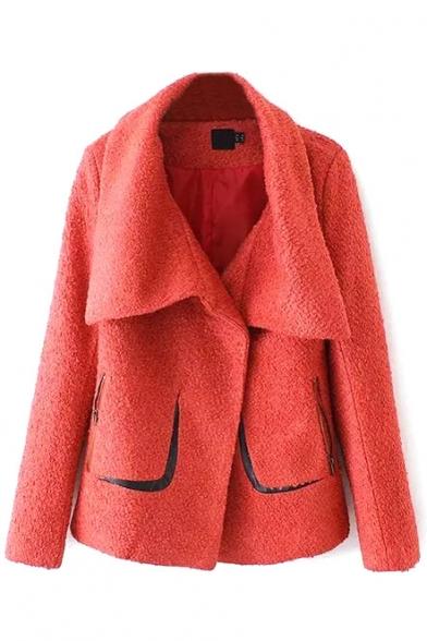 Lapel Long Sleeve Double Pockets PU Patchwork Tweed Coat