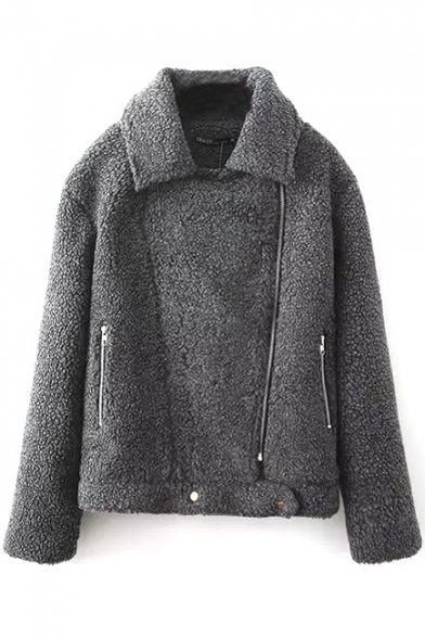 Lapel Long Sleeve Inclined Zip Lamb Wool Jacket