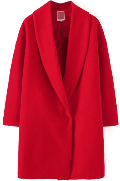 Lapel Long Sleeve Single Button Red Long Coat