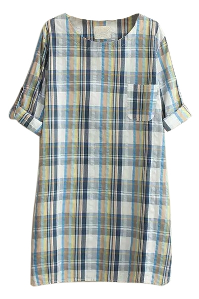 Long Sleeve Plaid Pocket Round Neck Shirt Dress