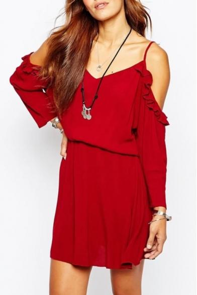 Red Cold Shoulder Ruffle Hem Long Sleeve Dress