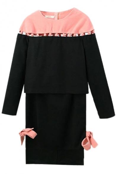 Round Neck Color Block Top with Tube Bow Midi Skirt