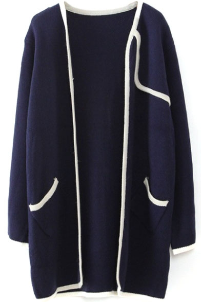 Cocoon Neck Long Sleeve Color Block Cardigan
