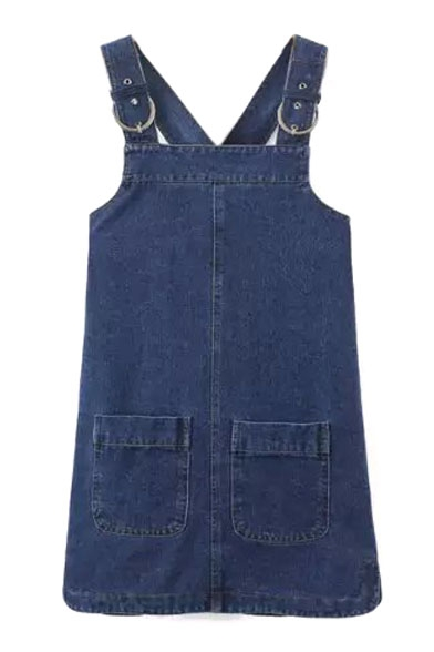Double Pockets Denim Overall Mini Dress