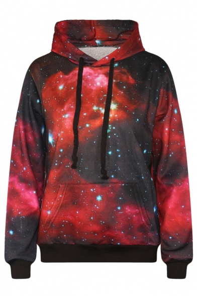 Galaxy Print Long Sleeve Red Hooded Sweatshirt