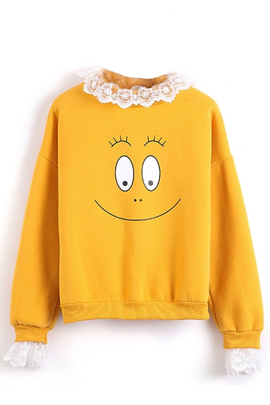 Lace Round Neck Smile Face Print Sweatshirt