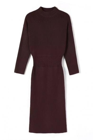 Plain High Neck Elastic Waist Split Side Knit Dress