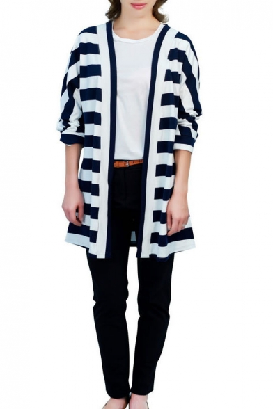 Cocoon Neck Long Sleeve Stripes Long Coat