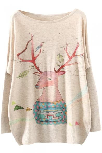 Christmas Deer Print Long Sleeve Scoop Neck Sweater