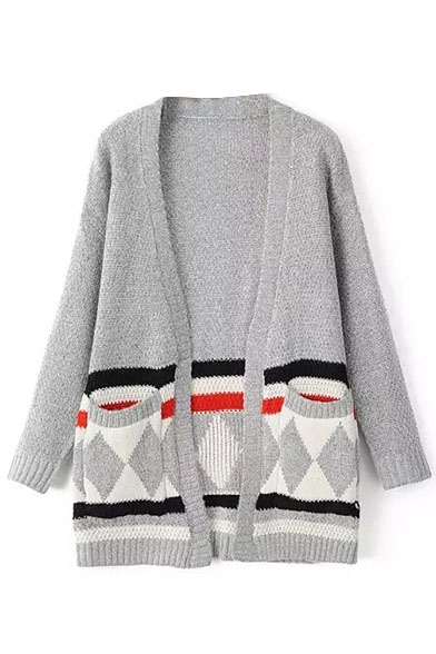 Geometric Print Long Sleeve Double Pockets Color Block Cardigan