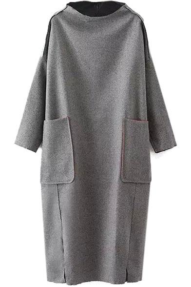 High Neck Long Sleeve Double Pockets Maxi Dress