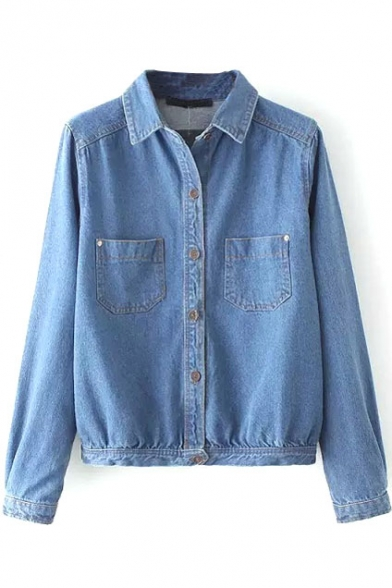 Lapel Plain Button Down Double Pockets Denim Coat