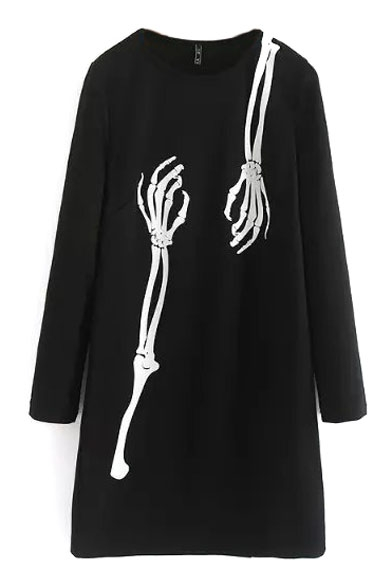 Round Neck Long Sleeve Skeleton Hands Print Dress