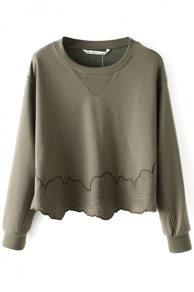 Neck Sweatshirt Plain Round Pullover Embroidery Long Sleeve ZwBF4