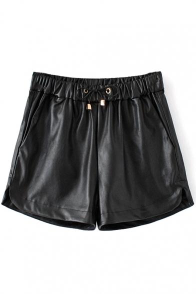 Drawstring Waist Curved Hem Plain PU Shorts