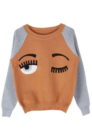 Embroidery Sleeve Block Eyes Color Sweatshirt Long w6YTOg