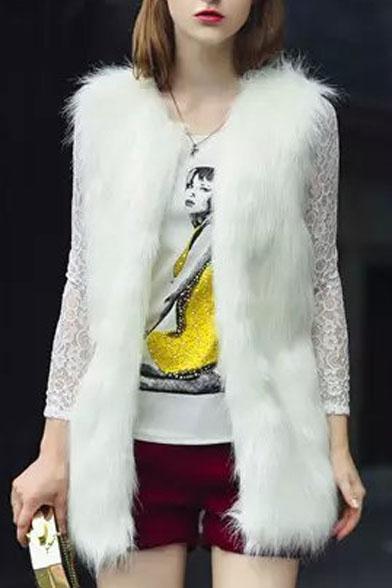 Faux Fur White Long Open Front Vest