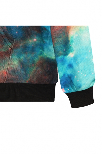 Green Galaxy Long Sweatshirt Sleeve Print rqr7dETx