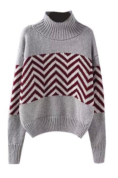 High Neck Long Sleeve Stripe Print Sweater