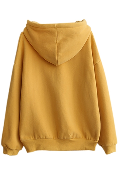 Plain Hooded Long Sleeve Sweatshirt with Drawstring