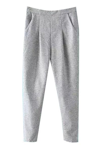 Zip Side Tweed Harem Plain Tapered Pants