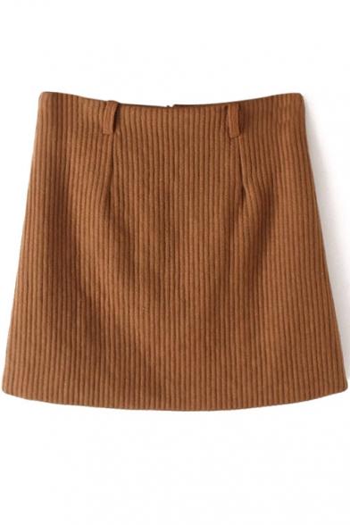 Bodycon Plain Zip Back Mini Skirt