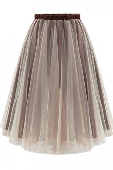 Elastic Waist Sheer A-Line Plain Midi Skirt