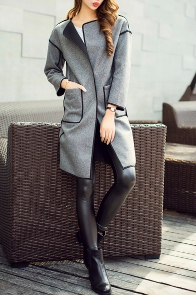 Long Sleeve Single Button Plain Double Pockets Coat