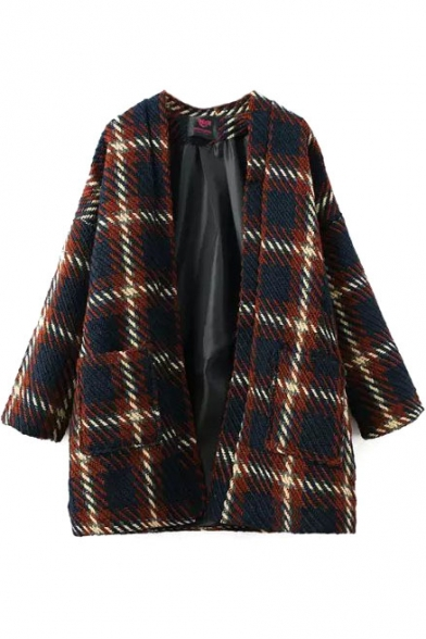 Open Front Long Sleeve Double Pockets Plaid Coat
