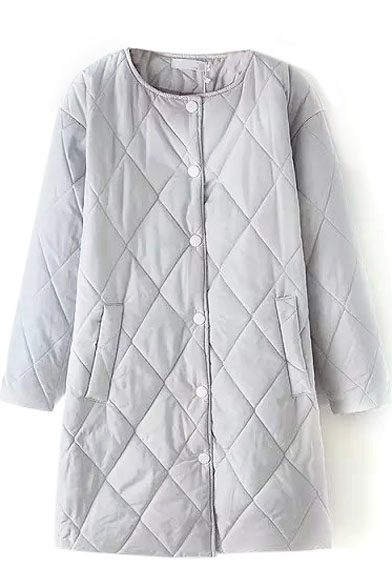 Plain Rhombus Quilting Long Single Breasted Padded Coat