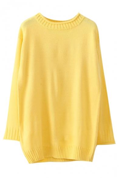 Round Neck Long Sleeve Plain Long Sweater