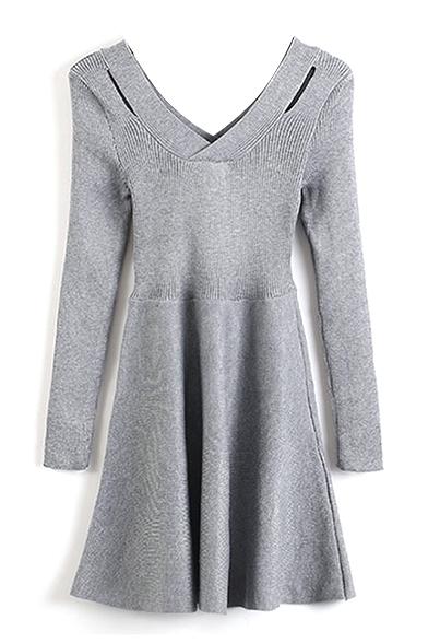 V-Neck Long Sleeve Plain Knit A-Line Dress