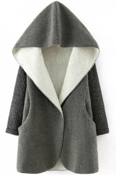 Hooded Single Button Knit Patchwork Wool Coat