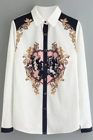 Lapel Long Sleeve Print Button Down Shirt