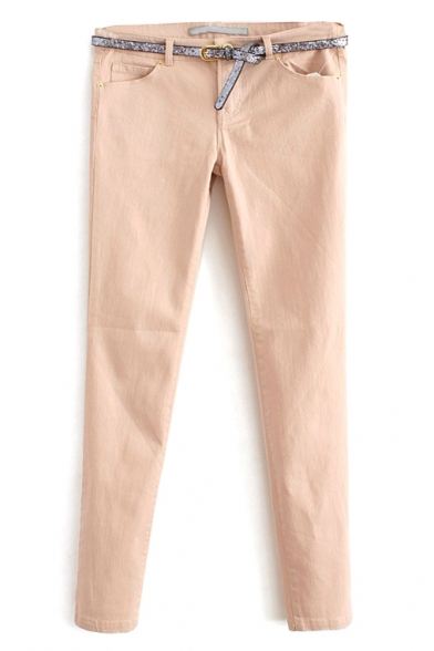 Zipper Fly Skinny Plain Mid Waist Pant with Belt
