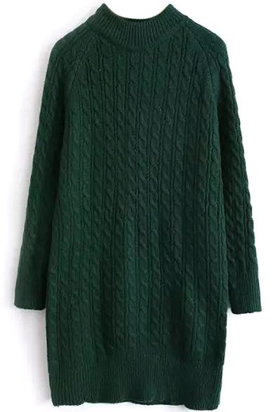 High Neck Long Raglan Sleeve Cable Knit Plain Sweater