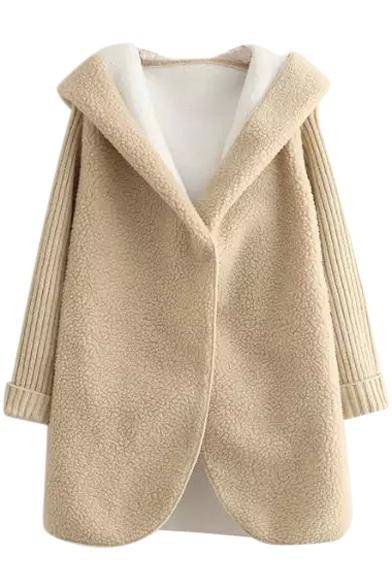 Hooded Long Sleeve Single Button Plain Coat