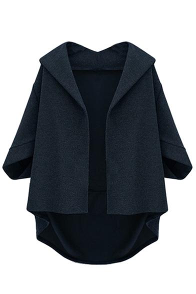 Lapel Half Sleeve Plain Open Front Tweed Coat