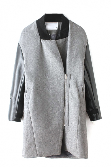 PU Patchwork Contrast Neck Inclined Zipper Long Coat