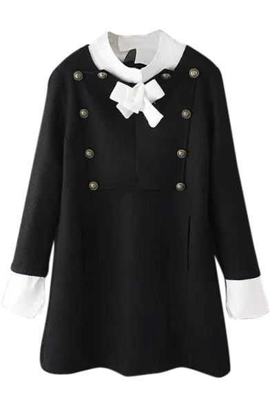 Bow Front Long Sleeve Color Block Button Detail Dress