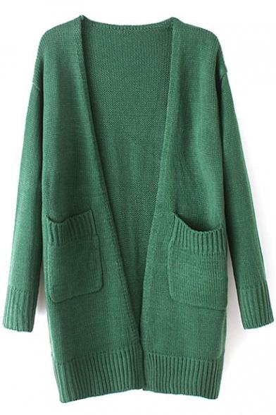 Cocoon Neck Long Sleeve Double Pockets Plain Long Cardigan
